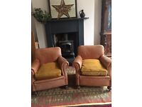 Antique leather armchairs