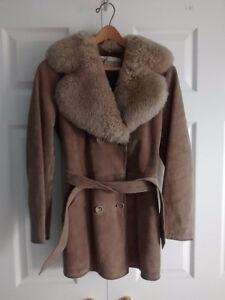 Suede Coat with Fur Collar