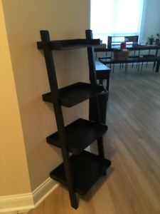Bookshelves and rolling carts