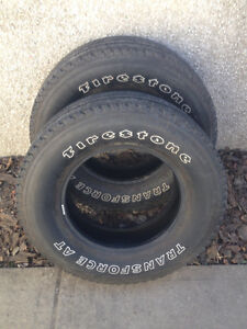 Two LT275/70/R18 Firestone Transforce AT Tires