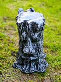 Large Solid Concrete Silver Green Man Tree Face Stump Garden Ornament