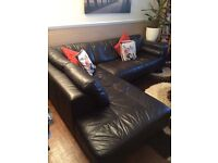 Black Leather Sofa & Foot Stool > Quick Sale £145 (Delivery Available)