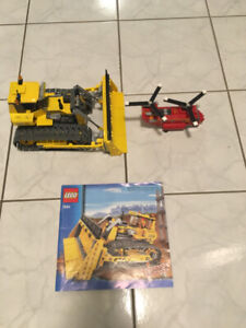 LEGO BULLDOZER & HELICOPTER - USED ONCE ONLY TO ASSEMBLE & DISPL