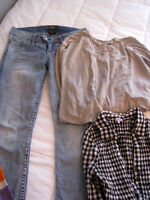 Silver jeans + 3 tops