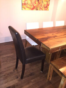 2 Dining Room Chairs - Dark Brown Leather