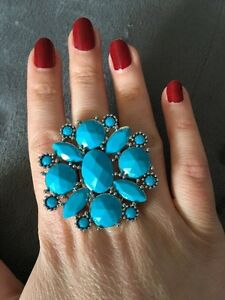Blue and silver ring - bague bleue et argent