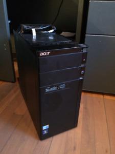 Ordinateur Acer, écran LG 25 pouces, speakers et clavier