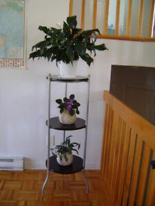 Support a plantes en metal et bois brun foncé.Plant stand