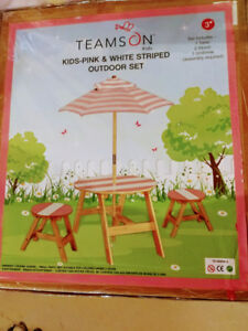 Teamson kids and girls outdoor table an chairs set with umbrella