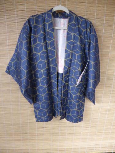 Vintage Japanese Silk Haori, Jacket, Cube Lines, Kimono