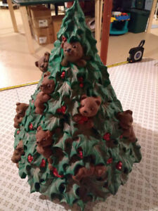 Ceramic Christmas Street with bears - 13 inches