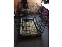 Large dog cage with padded cushion