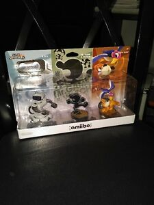 amiibo RETRO 3 PACK. R.O.B.  Mr Game & Watch  Duck hunt
