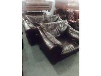 Dark brown leather 2 and 1 sofa set