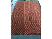 3 piece red patterned whipped carpet stair runner all pieces 2.40x0.7m