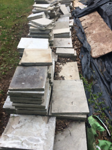 """Natural Limestone Paving Stones - smooth. 1"""" thick app 200 sq ft"""