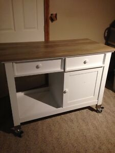 Country kitchen island on wheels