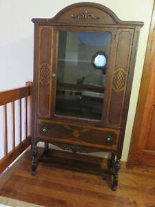 Antique Wood Glass Cabinet