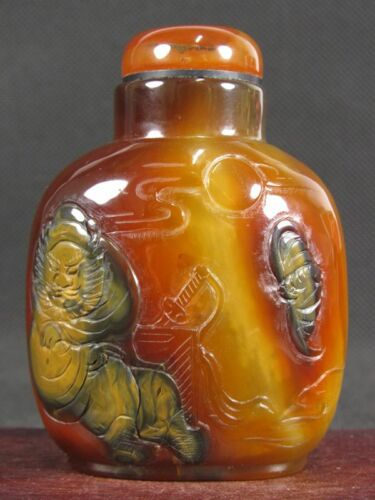 "Excellent Chinese ""Zhon Kui"" Carved Natural Agate Snuff Bottle"