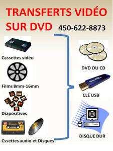 Transferts vidéo sur DVD ou USB