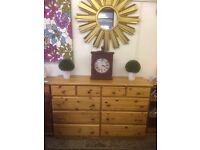 Very large solid pine 10 drawer chest