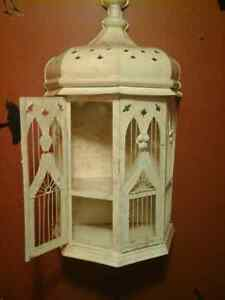 Large decorative bird cage,,light  beige in color