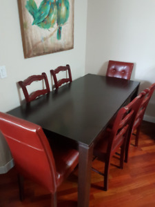 Espresso Dining table (6-10) with red chairs (8), EUC