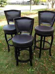 3 Leather studded chairs