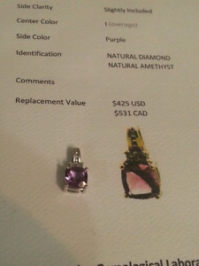 Diamond amethyst pendant with Certificate of Appraisal
