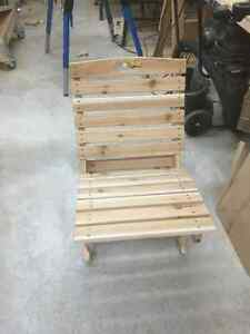 Two piece Cedar Deck chairs and folding tables