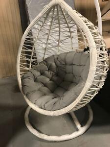 Patio Single Hanging Egg Chair - Rattan Wicker Outdoor  Cream