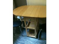 Solid pine drop leaf dining table with stools