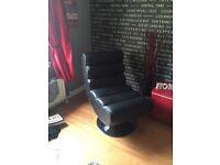 Designer Black Leather Chair.