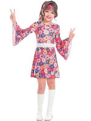 Child Miss 1960s 70s Costume Girls Gogo Flower Groovy Fancy Dress Hippie Kids