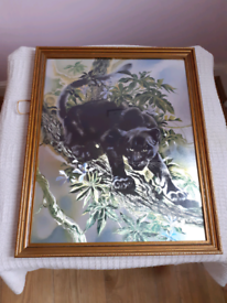 Large Framed Black Panther On Foil Picture