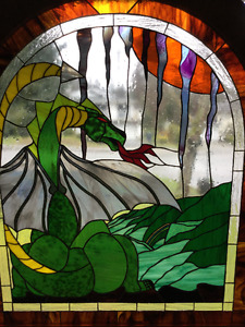 "VINTAGE REAL STAINED GLASS ""DRAGONS DEN"" ONE OF A KIND PIECE"