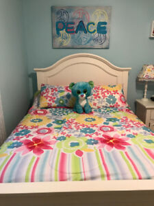 Girls double bedding and decor