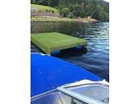 Floating pontoon for fishing and jetsking and general watersports