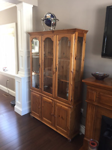 FINAL REDUCTION - TWO CORNER DISPLAY CABINETS & BUFFET & HUTCH