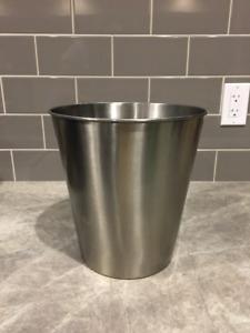 Nickel finish trash can
