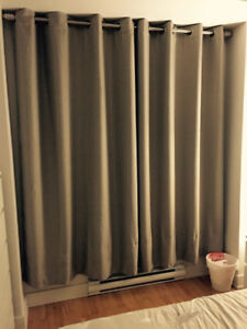 Taupe blackout curtains, rods and pole for sale