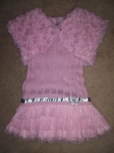 PINK KNIT DRESS WITH SWEATER - SZ 18-24 MTH!!