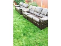Immaculate brown leather 3&2 seater sofas recliner. Can deliver