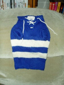 Maple Leafs Hand Knitted Dog Sweater by Ginger's Paw Prints