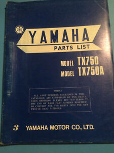 1973 1974 Yamaha TX750 Parts Book Regina Regina Area image 1