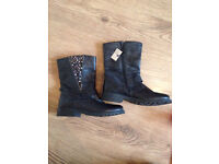 New Women's / children black leather next boots size 4