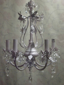 2 Beautiful 5-Light Crystal Chandeliers – Spotless!!