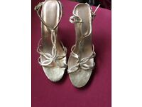 New look gold strappy sandals with cork heels size 6