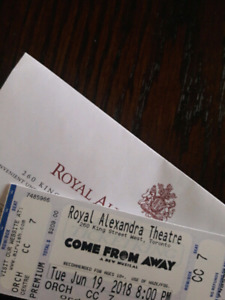 2 TIX. COME FROM AWAY, TUES JUNE 19, 8PM, TORONTO
