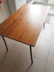 VERY SOLID IKEA TABLE WOOD + 4 CHAIRS FOR KITCHEN  PRICE NEGO
